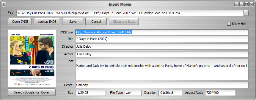 Easy-Data Mediacenter (Video Library Input Menu)